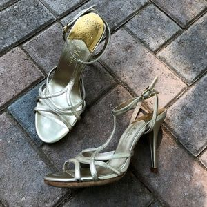 Cole Haan light gold T strap heels